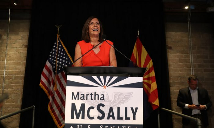 U.S. Senate candidate U.S. Rep. Martha McSally (R-AZ) speaks during her primary election night gathering at Culinary Drop Out at The Yard on Aug. 28, 2018 in Tempe, Arizona. (Justin Sullivan/Getty Images)