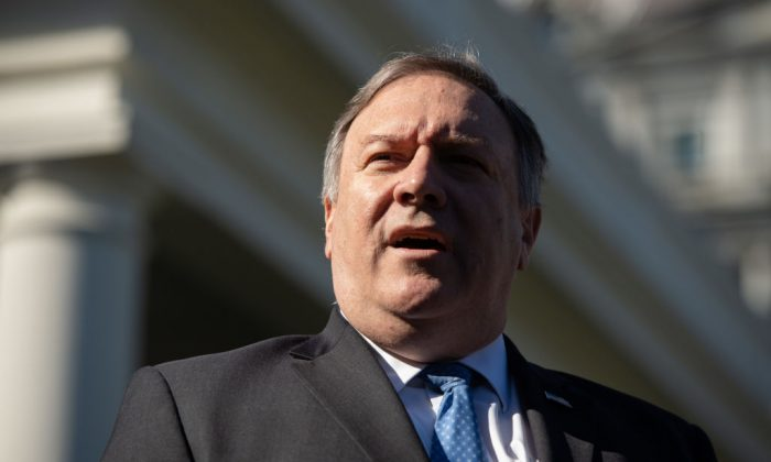 Secretary of State Mike Pompeo speaks to the press about his trip to Saudi Arabia after meeting with US President Donald Trump in the West Wing of the White House in Washington on Oct. 18, 2018. (SAUL LOEB/AFP/Getty Images)