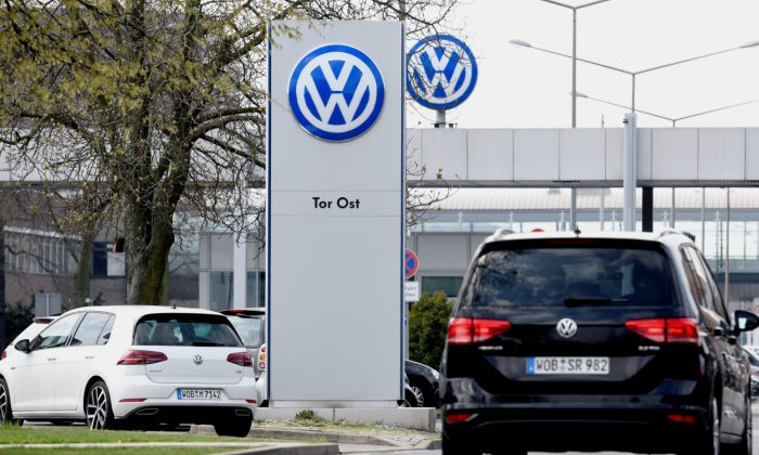 The logo of Volkswagen is seen at their plant in Wolfsburg, Germany on April 12, 2018. (Fabian Bimmer/Reuters)