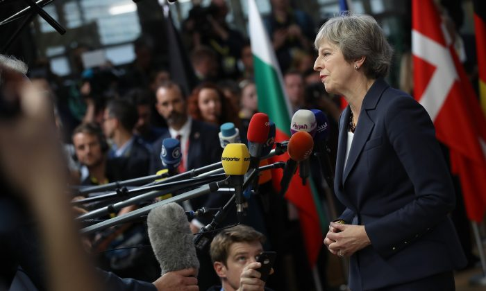British Prime Minister Theresa May at a working dinner of EU leaders in Brussels on Oct. 17, 2018. (Sean Gallup/Getty Images)