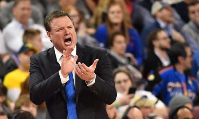 Kansas Jayhawks head coach Bill Self reacts against the Seton Hall Pirates in the first half in the second round of the 2018 NCAA Tournament at INTRUST Bank Arena. (Peter G. Aiken-USA Today Sports)
