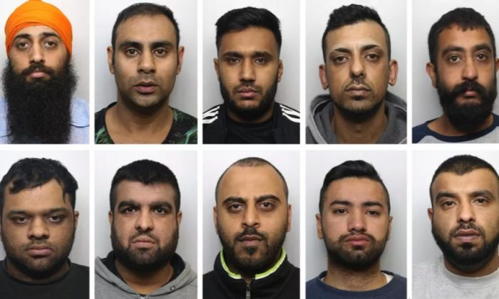 "Top row (L to R): Amere ""Pretos"" Singh Dhaliwal, Irfan ""Finny"" Ahmed, Zahid ""Little Manny"" Hassan, Mohammed Kammy"" Kammer, and Raj Singh ""Raj"" Barsran. Bottom row (L tp R): Mohammed Rizwan ""Big Riz"" Aslam, Abdul ""Beastie"" Rehman, Nahman Dracula"" Mohammed, Mansoor ""Boy"" Akhtar, and Mohammed ""Faj"" Irfraz. (West Yorkshire Police)"