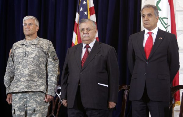 Zalmay Khalilzad flanked Jalal Talibani