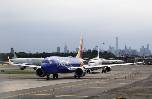 Southwest plane lines up at La Guardia