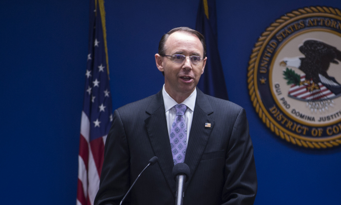 Deputy Attorney General Rod Rosenstein speaks during a news conference on efforts to reduce transnational crime at the U.S. Attorney's Office for the District of Columbia on October 15, 2018 in Washington, DC. Jeff Sessions said he designated five groups, including Hezbollah and MS-13, as transnational criminal organizations to be targeted. (Photo by Zach Gibson/Getty Images)