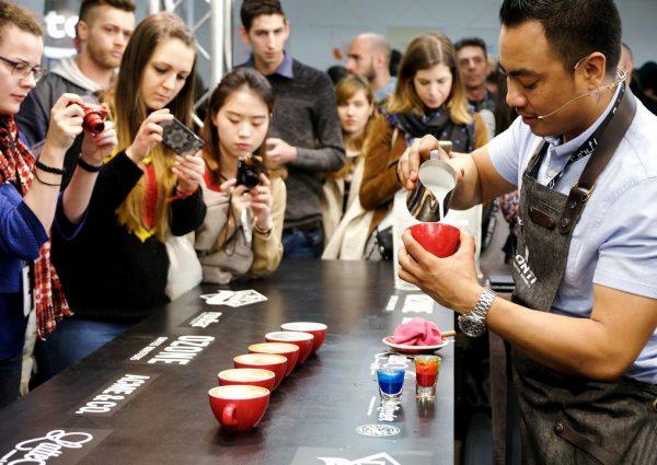 Barista demonstrates latte art