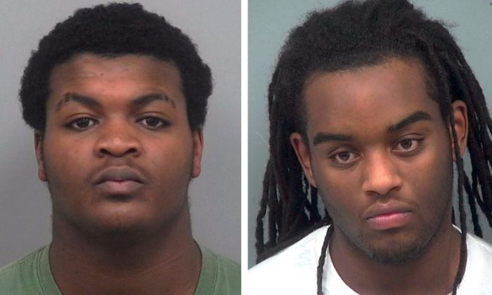 Left: Tafahree Maynard has been charged with aggravated assault and felony murder in connection with the fatal shooting on Oct. 20 of George police officer Antwan Toney. Maynard remains at large. Right: Isaiah Pretlow has been charged with aggravated assault in connection with the same crime. Pretlow was arrested on Oct. 20. (Gwinnett County Police Department via AP)