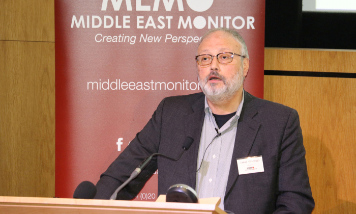 Saudi dissident Jamal Khashoggi speaks at an event hosted by Middle East Monitor in London Britain, September 29, 2018. (East Monitor/Handout via REUTERS/File Photo)