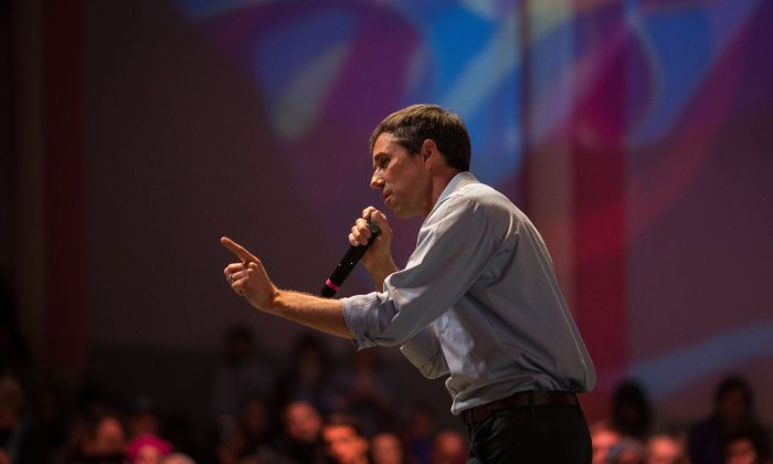 Rep. Beto O'Rourke (D-Texas) addresses supporters during a Senate race campaign rally in Fort Worth, Texas, on Oct. 20, 2018. (LOREN ELLIOTT/AFP/Getty Images)
