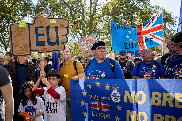Anti-Brexit protestors march along Piccadilly on Oct. 20, 2018 in London, England. (Alex McBride/Getty Images)