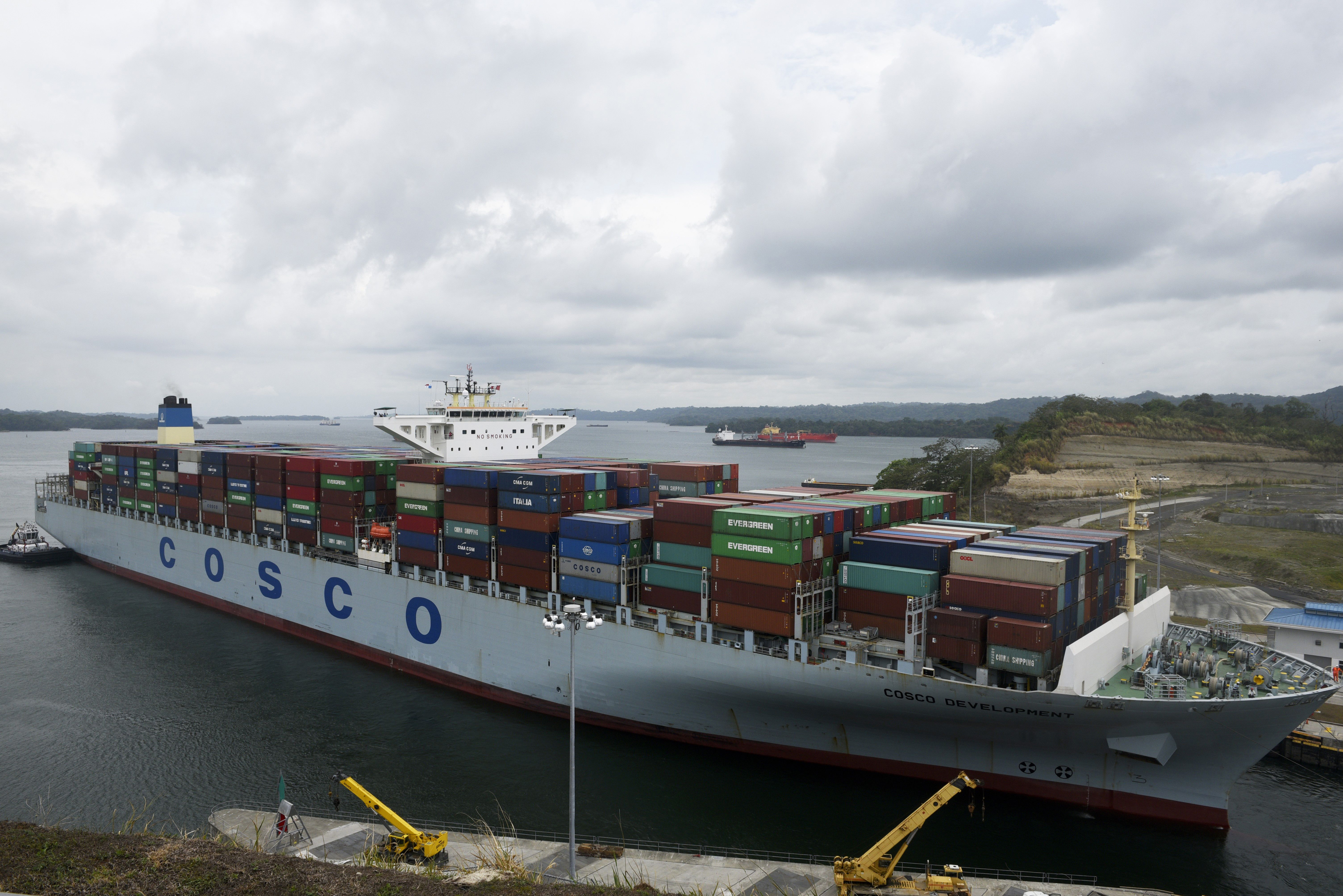 A Cosco container ship is seen near Panama City.