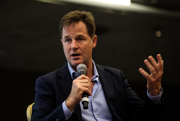Former Leader of the Liberal Democrats Nick Clegg speaks at a Liberal Democrat Party Conference fringe event at the Hilton Hotel on Sept. 17, 2018 in Brighton, England. (Jack Taylor/Getty Images)