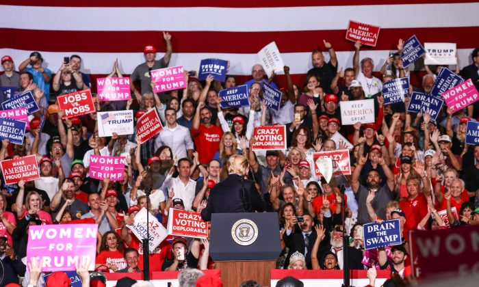 President Donald Trump at a Make America Great Again rally in Mesa, Ariz., on Oct. 19, 2018. (Charlotte Cuthbertson/The Epoch Times)