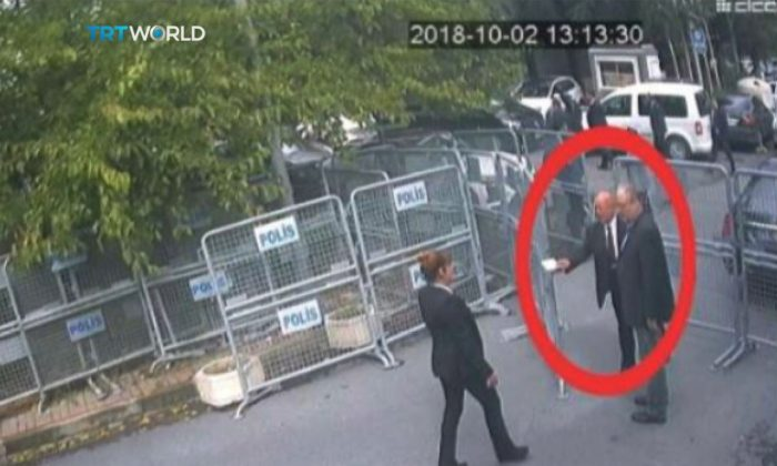 A still image taken from CCTV video and obtained by TRT World claims to show Saudi journalist Jamal Khashoggi, highlighted in a red circle by the source, as he arrives at Saudi Arabia's Consulate in Istanbul, Turkey, on Oct. 2, 2018. (Courtesy TRT World/Handout via Reuters)