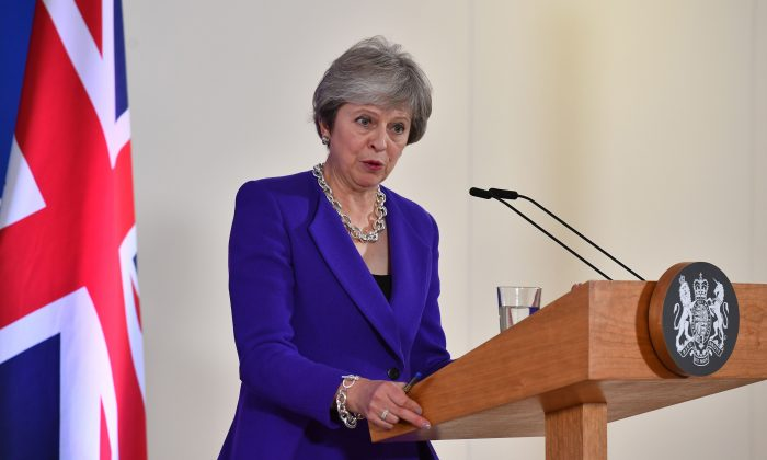 Britain's Prime minister Theresa May addresses a press conference on the sidelines of a EU summit at the European Council in Brussels, Belgium, on Oct. 18, 2018. (Ben Stansall/AFP/Getty Images)