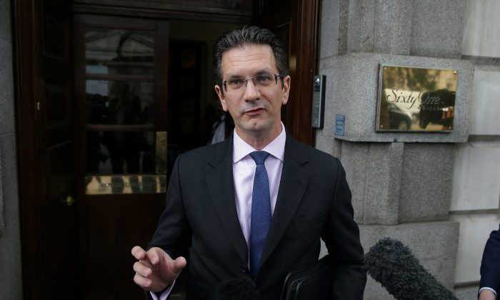 Conservative MP Steve Baker speaks to members of the media as he arrives to attend a meeting in central London, on September 12, 2018. (Daniel Leal-Olivas/AFP/Getty Images)
