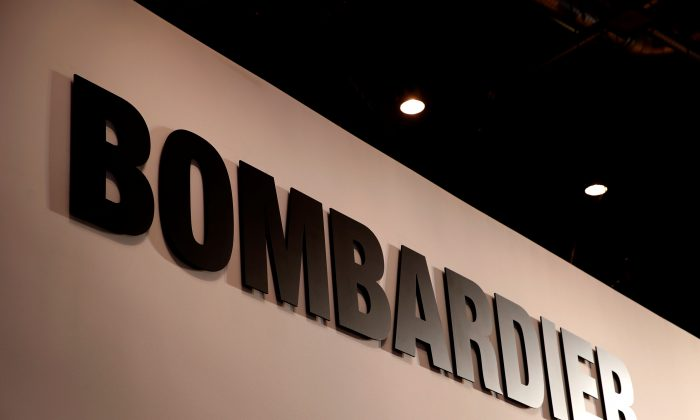 A Bombardier logo is pictured during the European Business Aviation Convention & Exhibition (EBACE) at Geneva Airport, Switzerland May 28, 2018. (Reuters/Denis Balibouse)