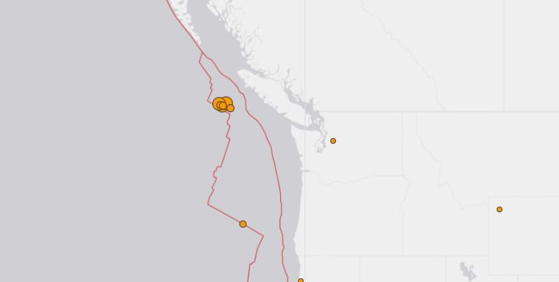 earthquaks hit off bc canada today