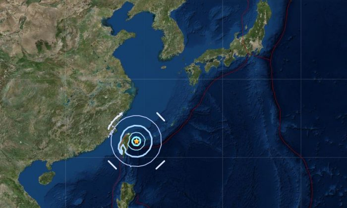 5.7 magnitude earthquake strikes off Taiwan on Oct. 23, 2018. (USGS)