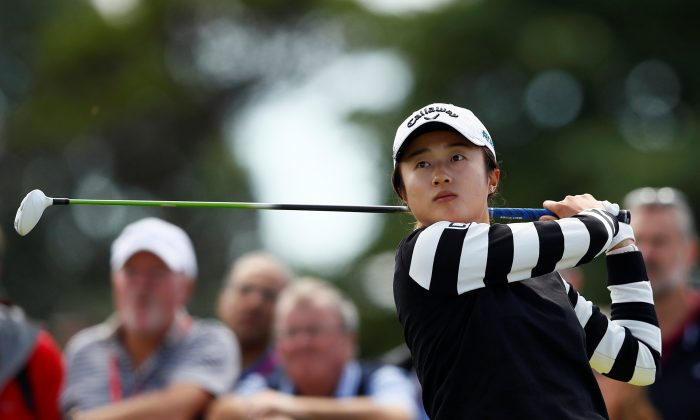 China's Yu Liu in action during the first round at the Women's British Open-Royal Lytham St Annes Golf Club in Britain on Aug. 2, 2018 (Jason Cairnduff/Action Images via Reuters)