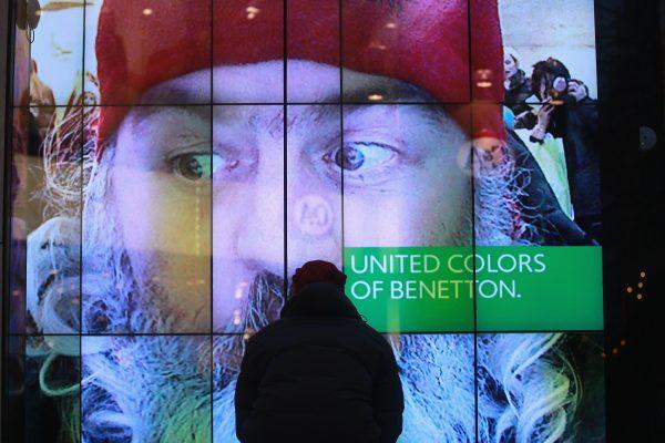 benetton logo seen on store window