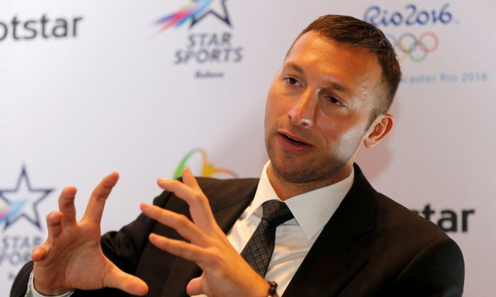 Australian swimmer Ian Thorpe speaks during an interview with Reuters in Mumbai, India, Jun. 16, 2016. (Reuters/Action Images/Shailesh Andrade)