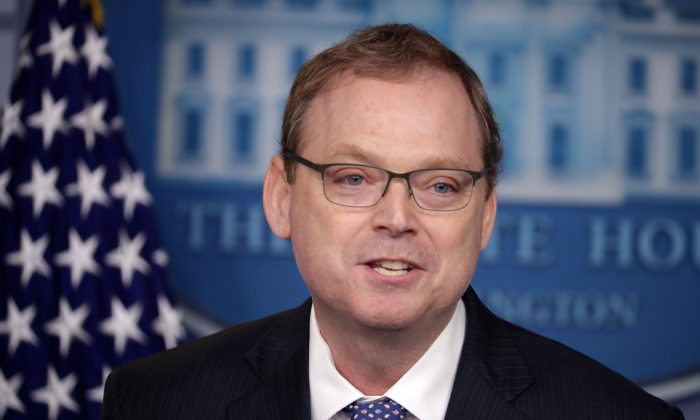 White House Council of Economic Advisers Chairman Kevin Hassett briefs reporters about the Trump Administration's economic policy during a news conference in the Press Briefing Room at the White House in Washington, on Sept. 10, 2018. (Chip Somodevilla/Getty Images)