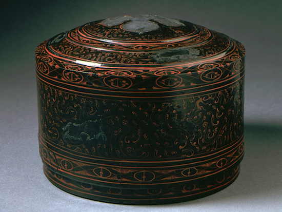 China, Late Western Han dynasty, about 100 B.C.-A.D. 25 Furnishings; Accessories Black lacquer on hemp core with red and yellow painted decoration and silver foil inlays Far Eastern Art Council Acquisition Fund (AC1997.50.1.1-.2)