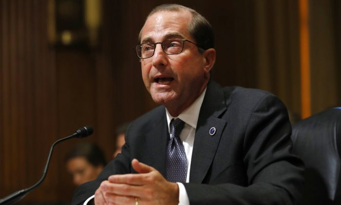 Health and Human Services Secretary Alex Azar speaks during a Senate Finance Committee hearing on Capitol Hill in Washington, on June 26, 2018. (AP Photo/Jacquelyn Martin)