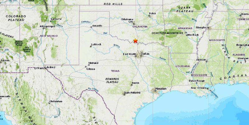 earthquake today in texas and oklahoma
