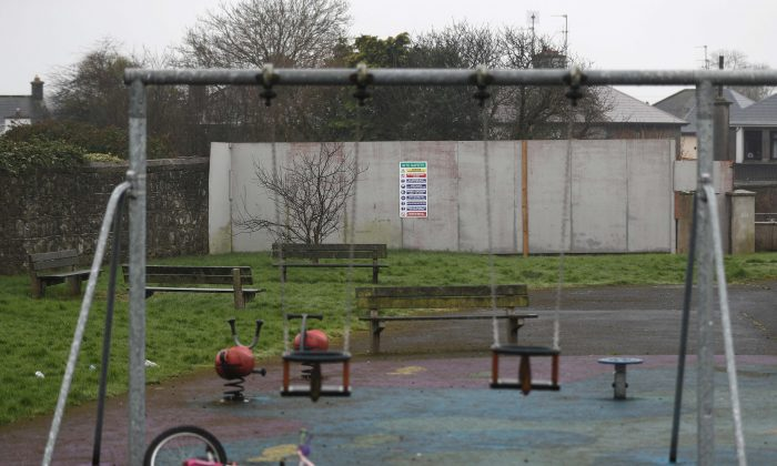 A children's playground now occupies part of the site of the former mother-and-baby home run by the Bon Secours nuns in Tuam, western Ireland, on March 7, 2017. (Reuters/Peter Nicholls