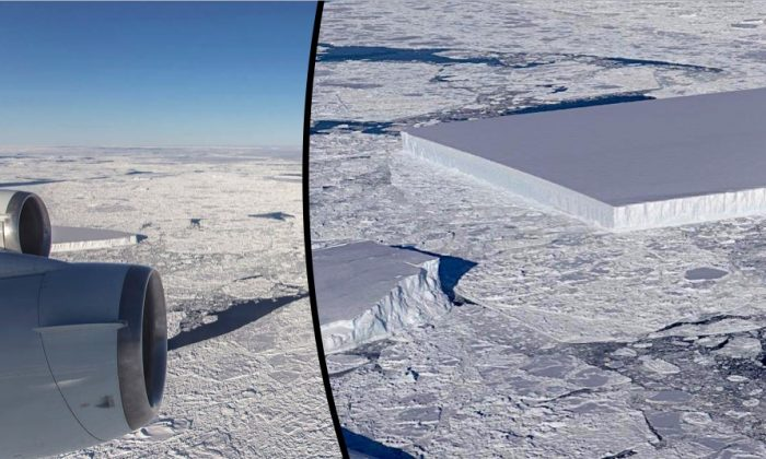 A NASA mission to study icebergs captured photographs of a rectangular iceberg with highly regular features, Oct. 18, 2018. (Jeremy Harbeck/NASA)