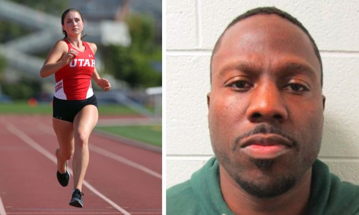 Left: University of Utah student-athlete Lauren McCluskey runs in Salt Lake City in this Aug. 30, 2017, photo. McCluskey was shot and killed on campus by a former boyfriend on Oct. 23, 2018. (Steve C. Wilson/University of Utah via AP) Right: Convicted repeat sex offender Melvin Rowland is pictured in this undated photo provided by the Utah Department of Corrections. Rowland is suspected of killing McCluskey and then committing suicide, Salt Lake City, Utah, Oct. 23, 2018. (Utah Department of Corrections via AP)