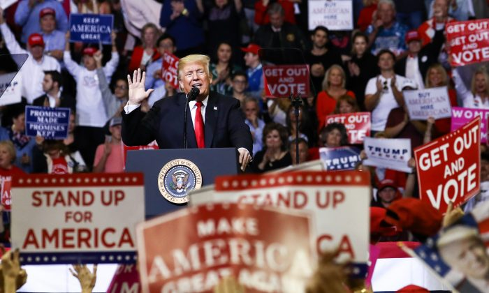 President Donald Trump at a Make America Great Again rally in Houston, Texas, on Oct. 22, 2018. (Charlotte Cuthbertson/The Epoch Times)