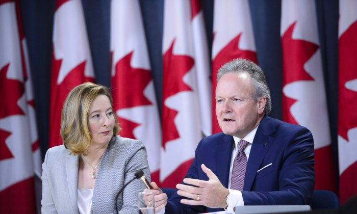 Bank of Canada Senior Deputy Governor Carolyn A. Wilkins and Governor Stephen Poloz hold a press conference in Ottawa on Oct. 24, 2018. Canada's central bank raised its overnight rate target to 1.75 percent. (The Canadian Press/Sean Kilpatrick)