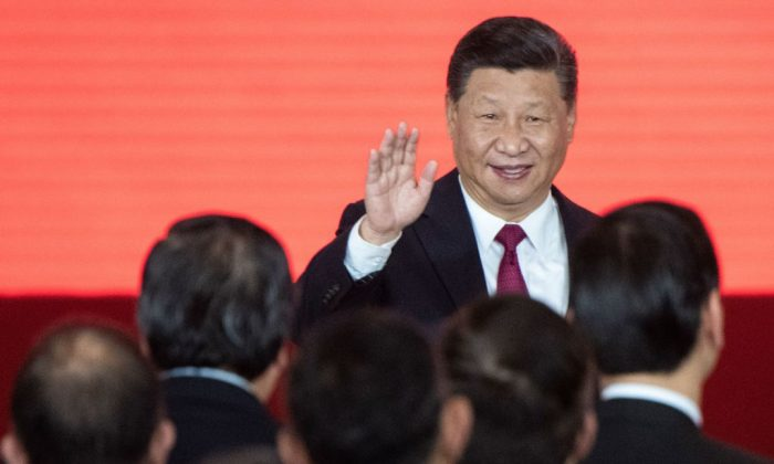 Chinese leader Xi Jinping attends the opening ceremony of the Hong Kong-Zhuhai-Macau Bridge at the Zhuhai Port terminal on Oct. 23, 2018. (Fred Dufour/AFP/Getty Images)