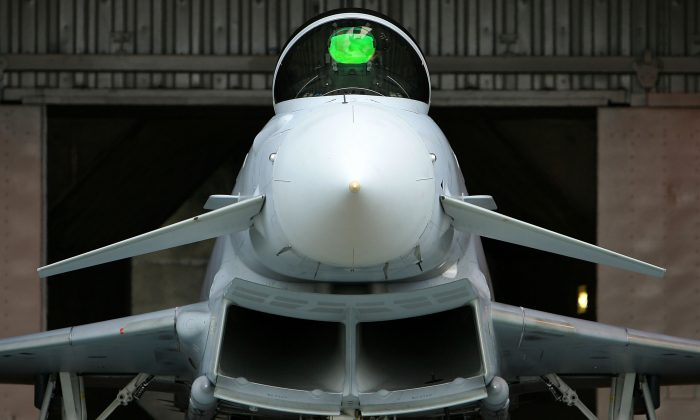 A Eurofighter Typhoon leaves its hanger at RAF Coningsby in Lincolnshire, England in this file photo. (Christopher Furlong/Getty Images)