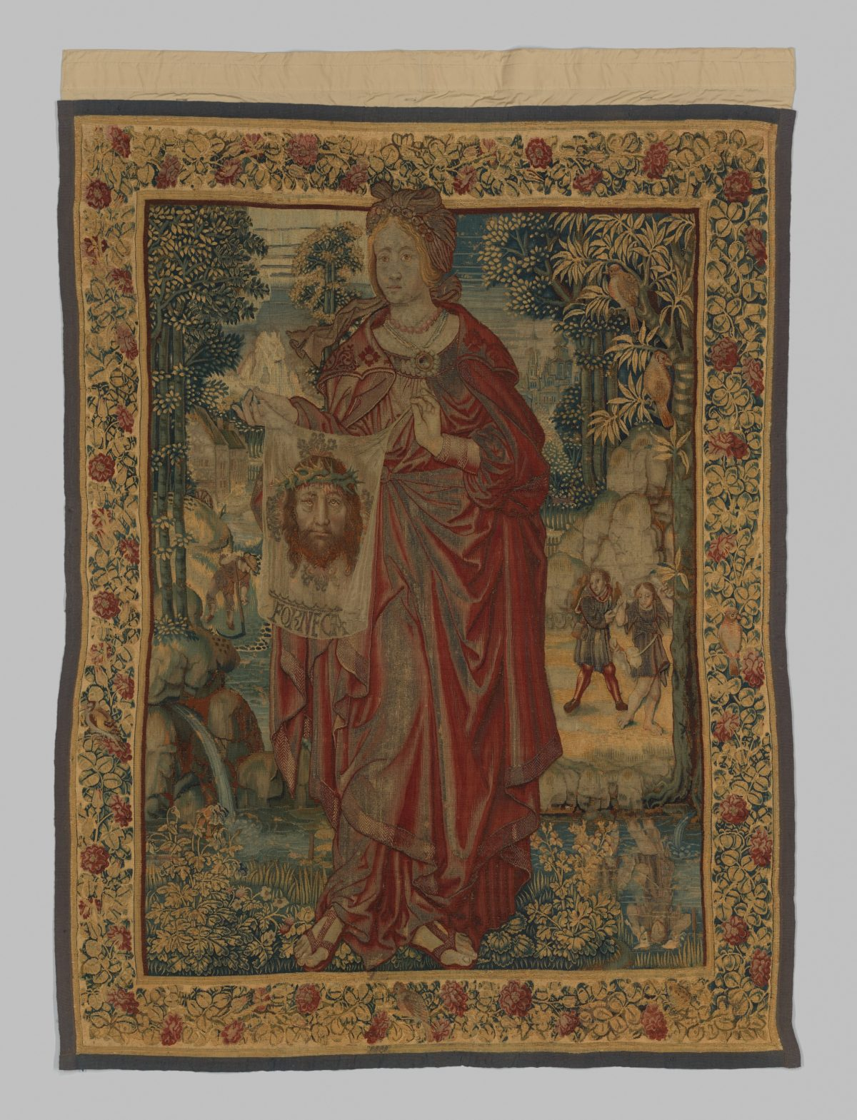 "the ""Saint Veronica"" tapestry was worth 52 cows. Circa 1525. Wool, silk, gilded silver metal-wrapped threads, 5 feet 8 inches by 4 feet 3 inches. Bequest of George Blumenthal, 1941. (The Metropolitan Museum of Art)"