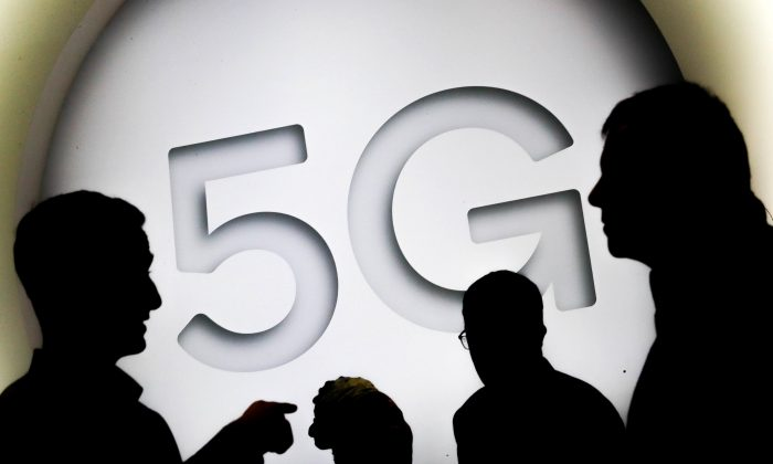 A 5G sign is seen at the Mobile World Congress in Barcelona, Spain on Feb. 28, 2018. (Yves Herman/Reuters)