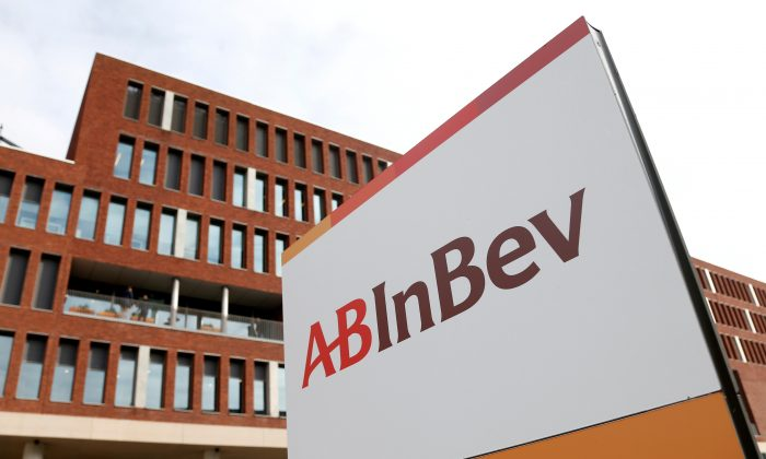 View of the Anheuser-Busch InBev logo outside the brewer's headquarters in Leuven, Belgium on March 1, 2018. (Francois Lenoir/File Photo/Reuters)