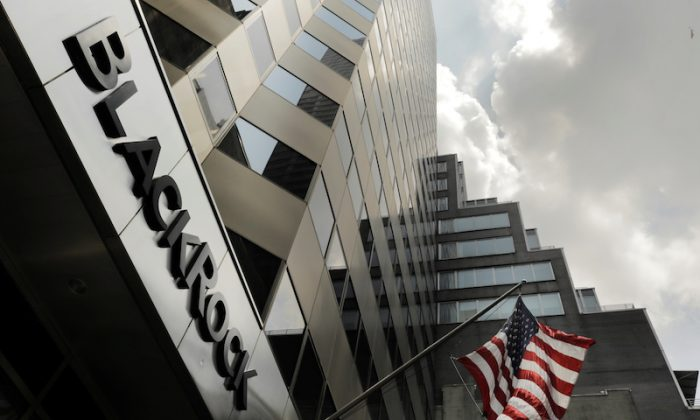 A sign for BlackRock Inc on its building in New York, on July 16, 2018. (Reuters/Lucas Jackson)
