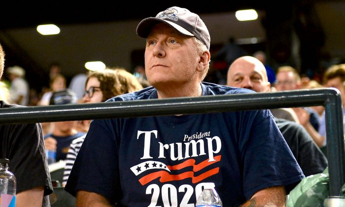 Curt Schilling watches the MLB game between the San Francisco Giants and Arizona Diamondbacks at Chase Field in Phoenix, Arizona, on August 3, 2018. (Jennifer Stewart/Getty Images)