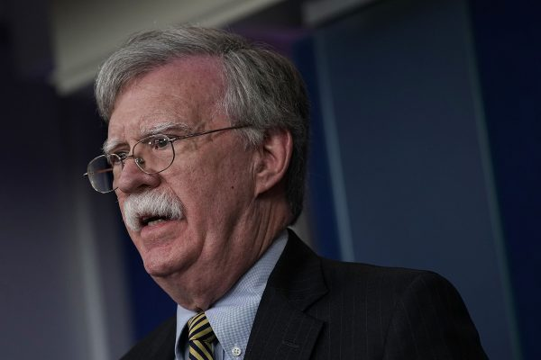 John Bolton speaks at press briefing