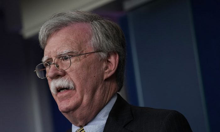 File photo showing National Security Adviser John Bolton speaking during a White House news briefing in Washington on Oct. 3, 2018. (Alex Wong/Getty Images)
