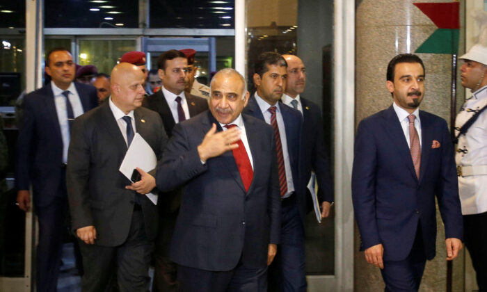 Iraq's Prime Minister-designate Adel Abdul Mahdi and the speaker of Iraq's parliament Mohammed al-Halbousi arrive at the parliament building in Baghdad, Iraq on Oct. 24, 2018. (Khalid al Mousily/Reuters)