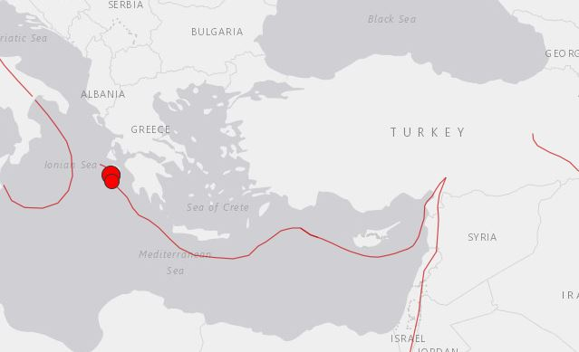 A series of strong earthquakes strike off Greek coastline on Oct. 26, 2018. (USGS)