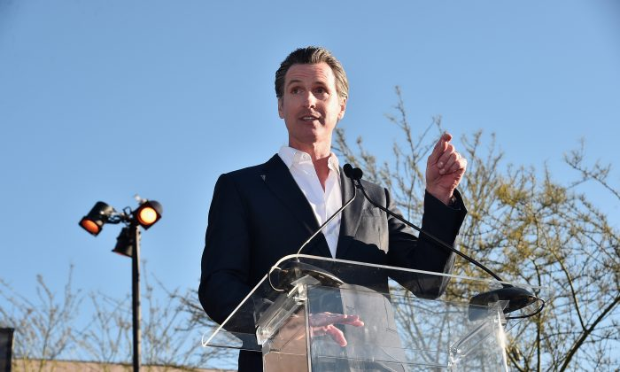 California Lt. Governor Gavin Newsome speaks during the United Voices Rally at UTA Plaza in Beverly Hills, California on February 24, 2017.  (Alberto E. Rodriguez/Getty Images)