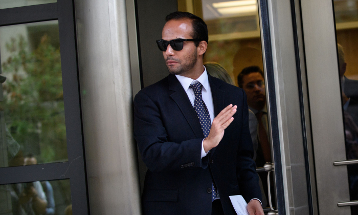 Foreign policy advisor to US President Donald Trump's election campaign, George Papadopoulos leaves the US District Courts after his sentencing in Washington, DC on Sept. 7, 2018. (Photo by Mandel Ngan/AFP)