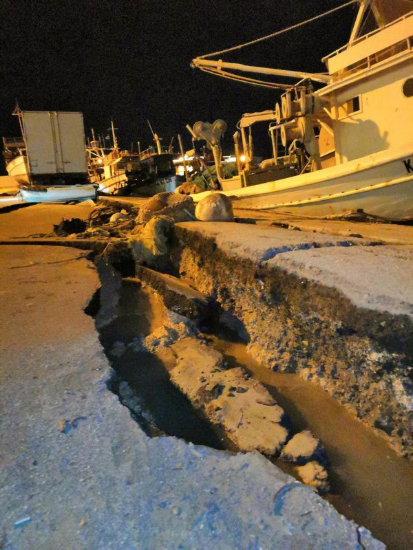 Damages are seen at the port of the western island of Zakynthos, Greece