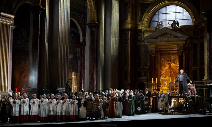 """A scene from Act I of Puccini's """"Tosca"""" set in the Church of Sant'Andrea della Valle. (Marty Sohl / Met Opera)"""